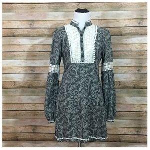 Free People Tribal Grunge Dress – Size 4 – B/W